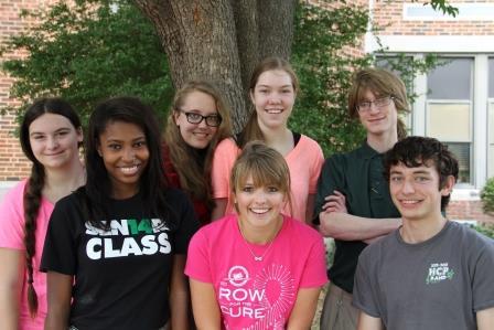 From left to right: Stephanie Emerson, Monica Threatt, Katie Leenders, Hannah Malzahn, Callie Struby, Jonathan Conley and Jake Burga.