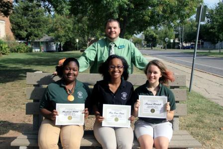 The September Awesome Eagles were announced.  Front row: Junior Marsheona Welch, senior Neia Knox-Davis and freshman Hannah Mitchell. Back row: Head Principal Justin Hunt. Not pictured: Geoffrey Barbour