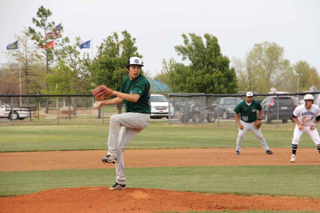 Junior+Braden+Yarbrough+pitches+against+the+Newcastle+Racers+in+the+second+game+of+District+play+on+April+26.+The+Eagles+lost+the+game+21-0.+