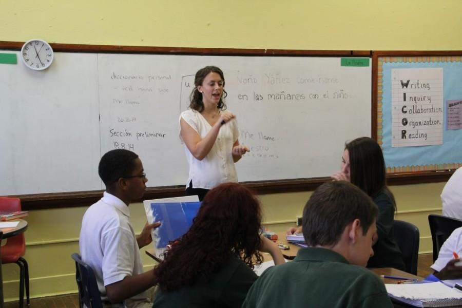 Allison Stroud gives instructions to her Spanish I class in August.