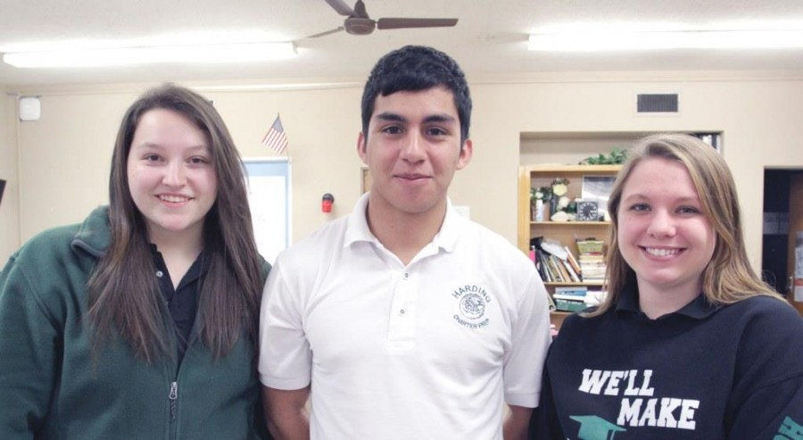 Jessica Myers, Bobby Anaya and Hollie Harris received awards for their work on the 2014 Aquila yearbook at the Fall Media Monday event hosted by the Oklahoma Scholastic Media.