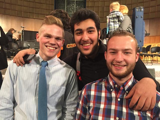 Senior Mitchel Williams, junior Ramy Afzalianmand and senior Guillaume Saaty performed with the OBU High School Honor Band in early January.