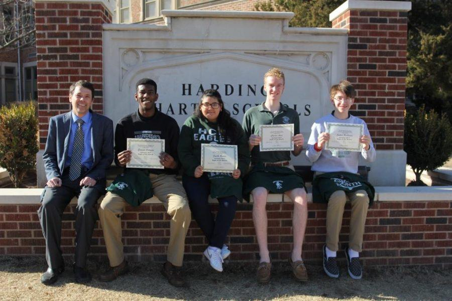 The January Awesome Eagles with Dr. Mylo Miller: senior Samuel Salewon, junior Janeth Rivera, sophomore Henry Amis and freshman Joshua Buchanan.