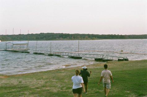Kate and Carlos walk down to the dock at Lake Texoma
