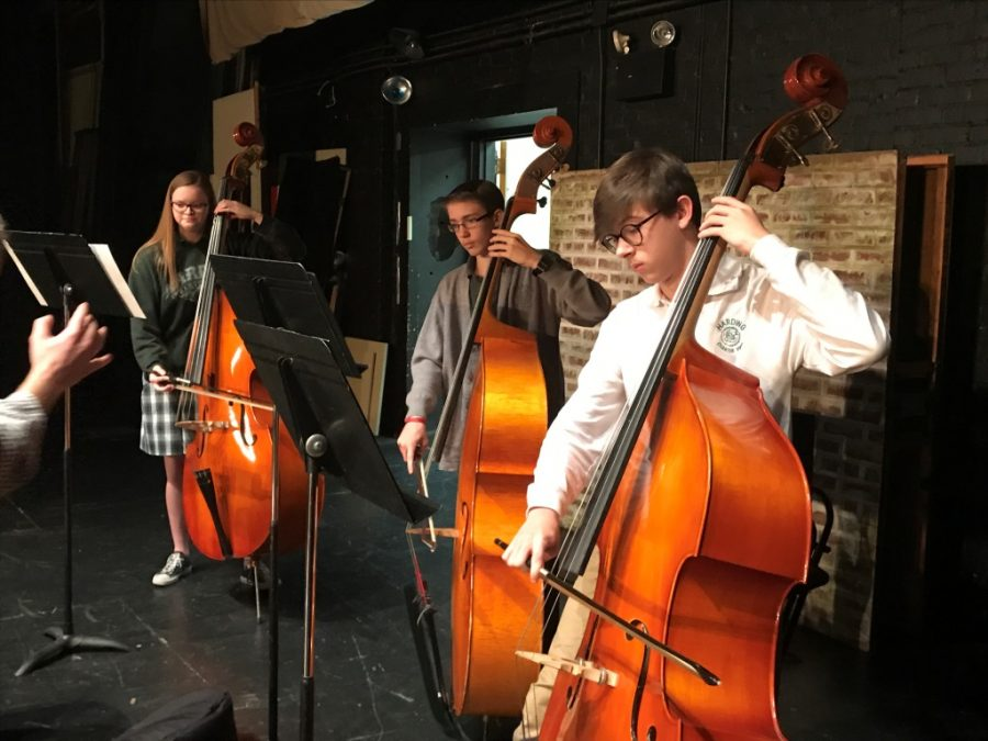Jackson Burnette, far right, rehearses with his section during orchestra in November. Burnette earned second chair in the All State Orchestra bass section.