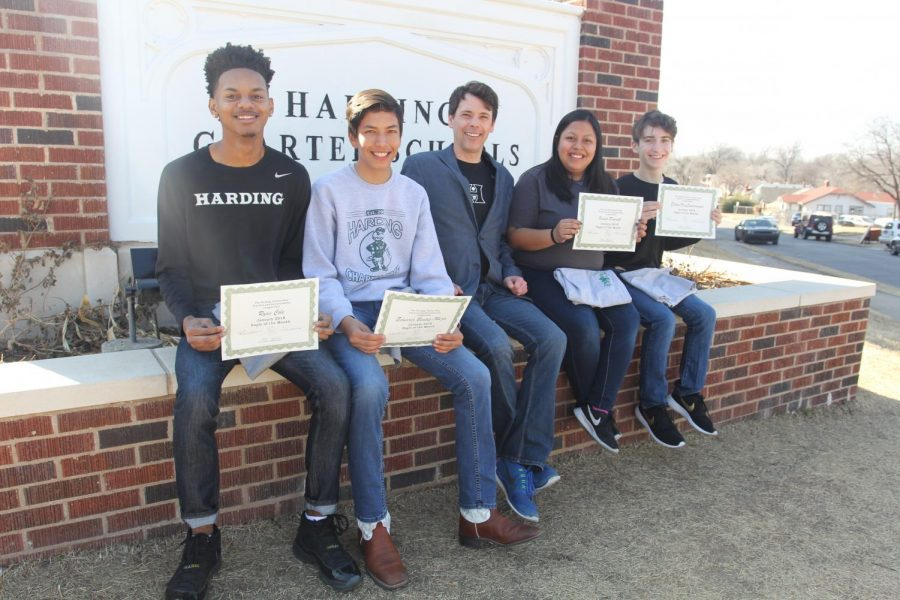 The January Awesome Eagles: Ryan Cole, Eduardo Benitez-Mejia, Dr. Mylo Miller, Violet Parrott and Ethan VanSwearingen.
