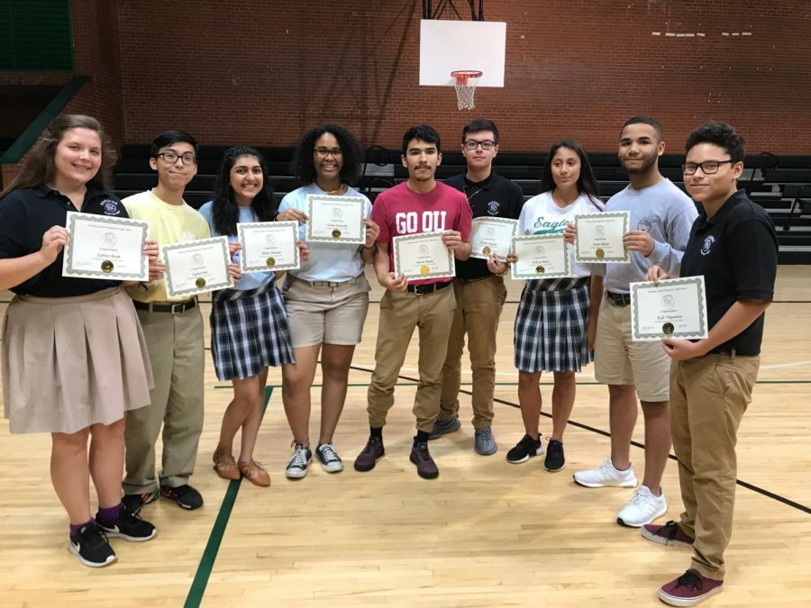 Seniors Sydney Beam, Nghia Bui, Alisha Hemani, Dania Kennedy, David Mares, Ethan Nguyen, junior Julissa Ponce, and seniors Xavier Rhone and Kyle Ynguanzo were named AP Scholars.