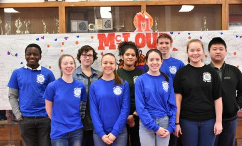 Archery Team at the Mcloud tournament left to right: Mensah Anthony, Mary Marble, Micah McMahan, Grace Wilkes-Ball, Gwen Herrada, Kristen Higgins, Nathan Carr, Korbin Nida, and Winson Chen