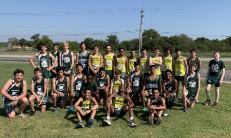 The cross country team poses together after running in Kiefer, OK.
