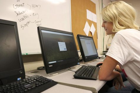 Sophore Faith Morrison logging into her Microsoft account to work on homework.
