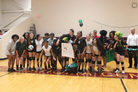 HCP volleyball team members join their seniors and the seniors' parents for a special celebration on Sept. 10.