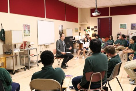 A visitor from AMC@UCO talks with students about the realities of music careers at the inaugural Career Day.