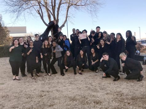 HCP Orchestra students pose outside Edmond Santa Fe High School with their Excellent rating certificate.
