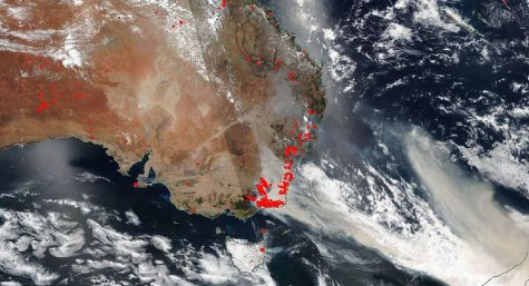 This NASA image shows the location of the bushfires in southeast Australia. The fires have burned over 32,400 square miles as of Jan. 7, an area of land 80 times larger than the fires that burned in California in 2019.